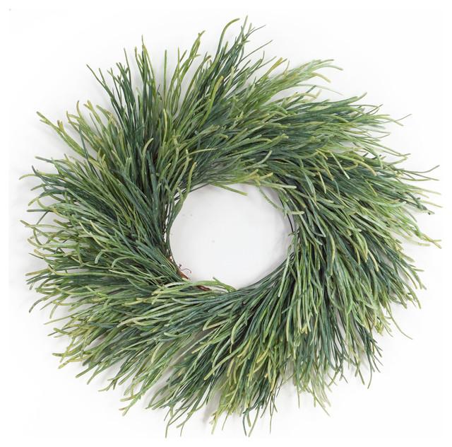 "Pearl Grass Wreath 24""D Plastic/Twig, Set of 2"