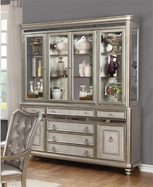 Genial Coaster China Cabinet, Metallic Platinum