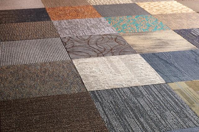 "20""x20"" Assorted Peel And Stick Commercial Carpet Tiles, 12-Piece Set."