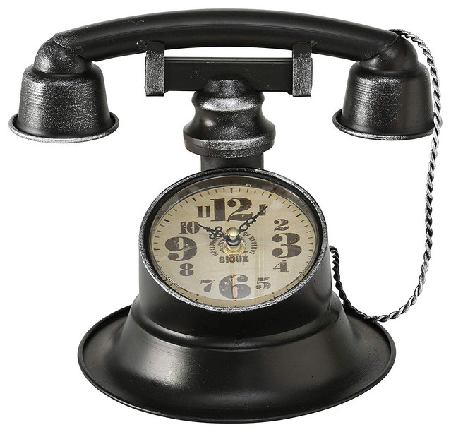 Retro Telephone Table Top Clock Eclectic Desk And Mantel Clocks By Whole House Worlds Houzz