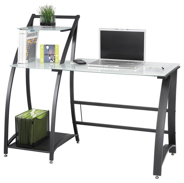 Xpressions Computer Workstation W Tempered Glass Laptop Desk