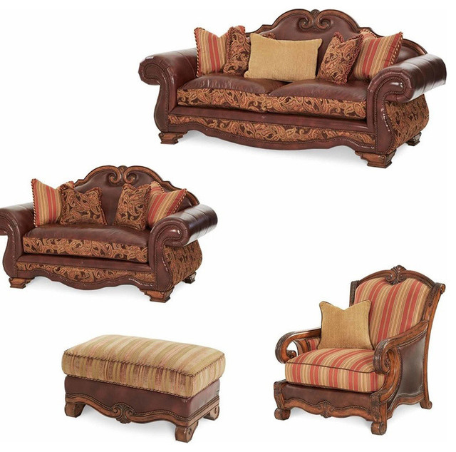 Traditional Sofas Living Room Furniture: Tuscano Living Room Set, Brick, 4-Piece Set