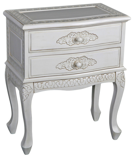 Carved Wood Two Drawer Table,Antique White