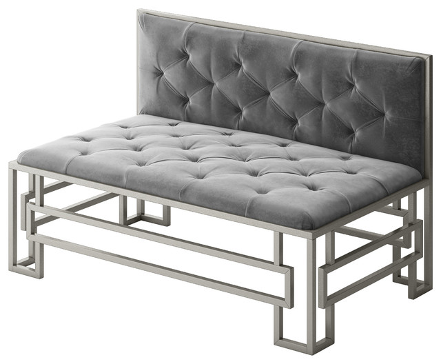 Alice Modern Loveseat With Silver Metal Frame and Gray Velvet Seat