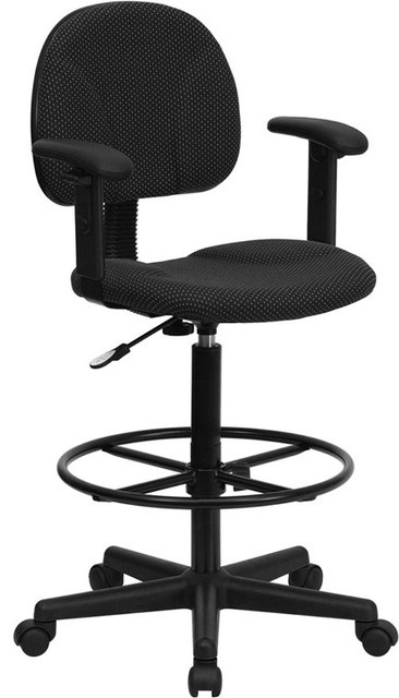 Silkeborg Black Patterned Fabric Drafting Chair With Adjustable Arms.