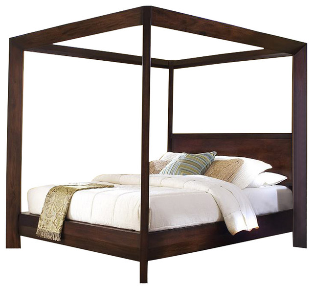 Ligna Canali Queen Poster Canopy Bed, Mocha.