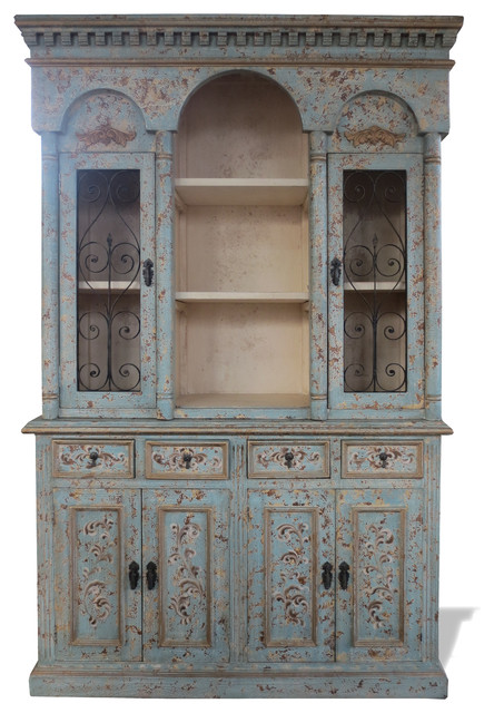 Old World Tuscan Hutch Colonial Turquoise Distressed Mediterranean China Cabinets And Hutches By Lutina Furniture