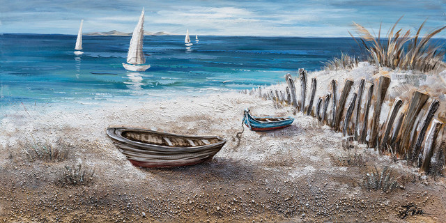 """""""Boats on the Sand"""" Hand Painted Canvas Art, 55""""x27.5"""""""
