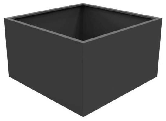Adezz Aluminium Planter, Black Grey, Florida Low Cube, 120x120x60cm