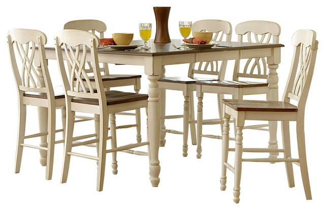 Homelegance Ohana 7 Piece Counter Height Dining Table Set, Cherry/White