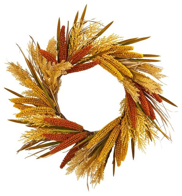 Artificial Wreath -25 Inch Sorghum Harvest Wreath.