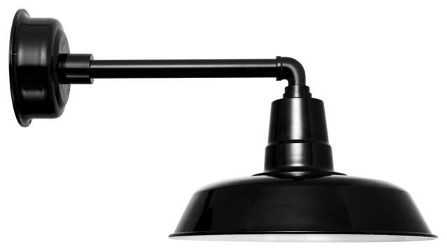 """Oldage LED Barn Light With Metropolitan Stem, Black, 16"""""""