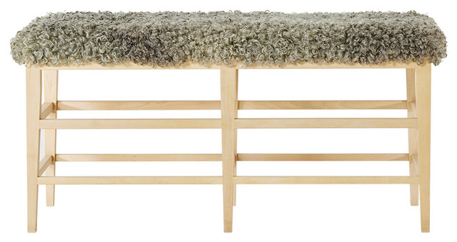 G.a.d Faro Upholstered Bench, Birch And Fleece Seat.