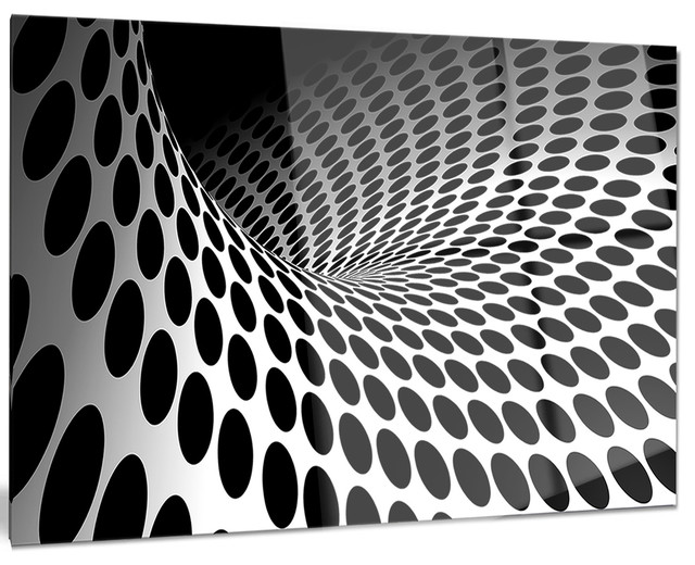 """""""waves And Circles Black And White"""" Glossy Metal Wall Art, 28""""x12""""."""