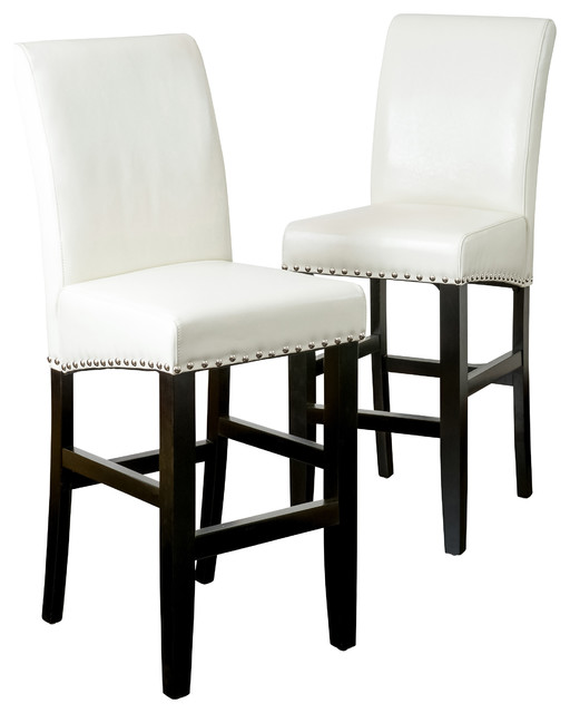 gdfstudio clifton leather bar stools set of 2 ivory bar stools and
