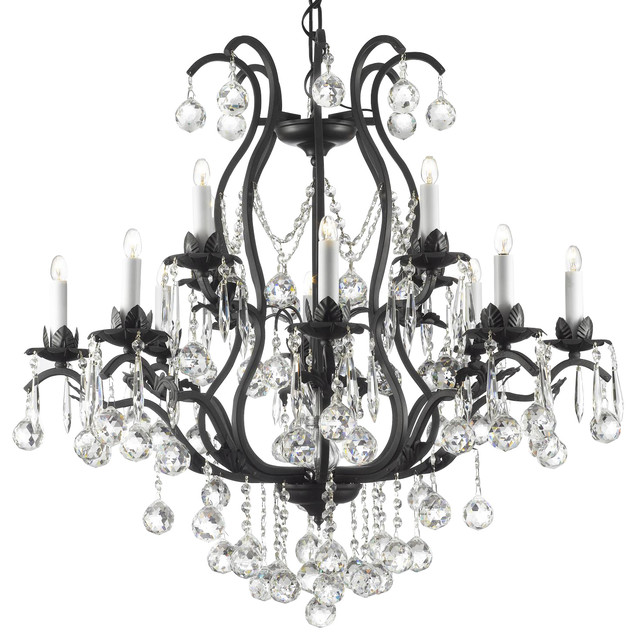 Yvette Crystal Chandelier: The Gallery Swarovski Crystal Trimmed Wrought Iron Crystal