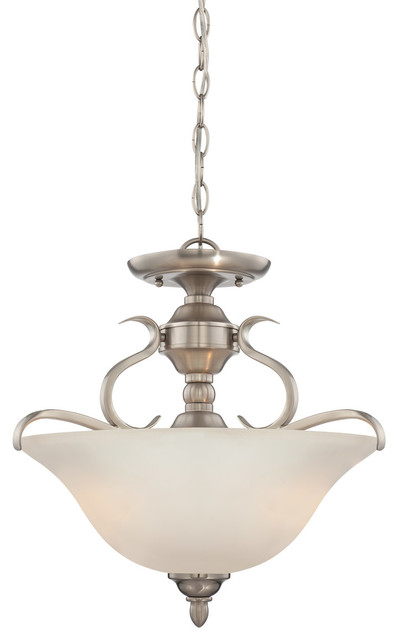 Mckinney 3-Light Semi-Flush Mounts, Brushed Polished Nickel.