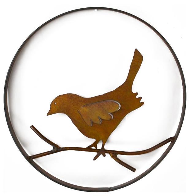 bird on a branch metal wall sculpture