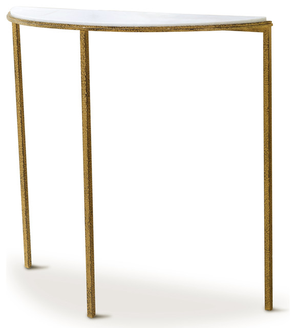 daphne hollywood regency antique gold white marble demilune console table