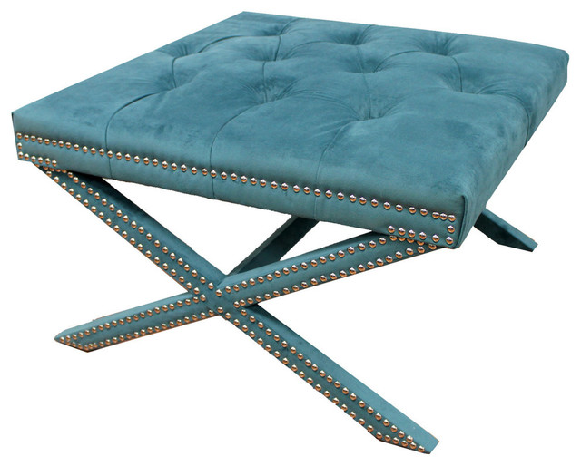 Upholstered stool with nail studs contemporary coffee for Coffee table with studs