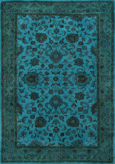 Rugsville Aquatic Green Wool Overdyed 12246 Rug 6x9 Traditional Area Rugs By Rugsville