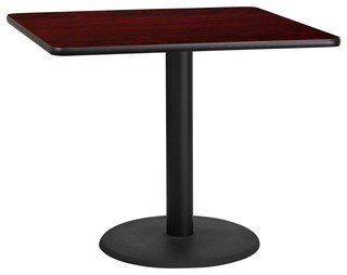36'' Square Laminate Table Top With 24'' Round Table Height Base, Mahogany