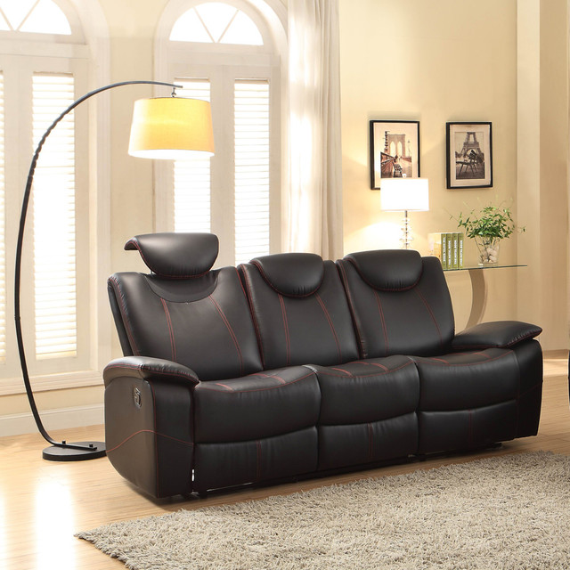 reclining sofa in black leather contemporary sofas by beyond