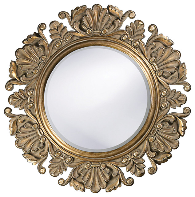 Vintage style round framed mirror victorian wall for Vintage style mirrors