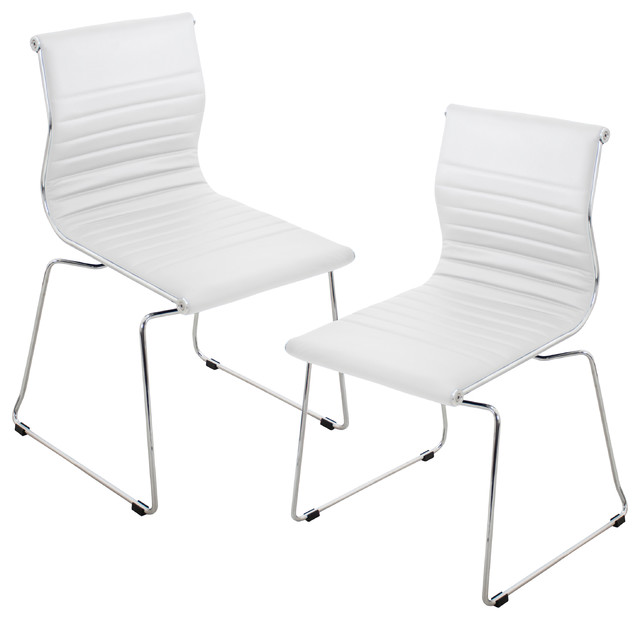 Lumisource Master Stackable Chairs, White, Set Of 2 Contemporary Dining  Chairs