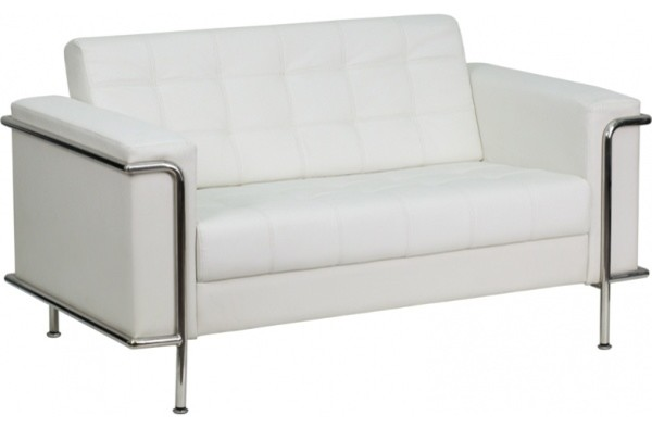 Flash Furniture White Bonded Leather Loveseat.