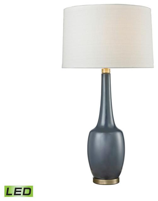 Dimond lighting d2611nb led modern vase ceramic led table lamp navy blue contemporary