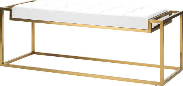 Step Occasional Bench, White, Gold.