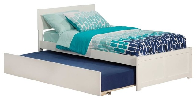 Twin Flat Panel Bed, White.
