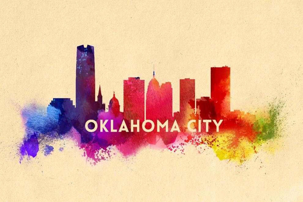 Oklahoma City Oklahoma Skyline Abstract Print Contemporary Prints And Posters By Lantern Press
