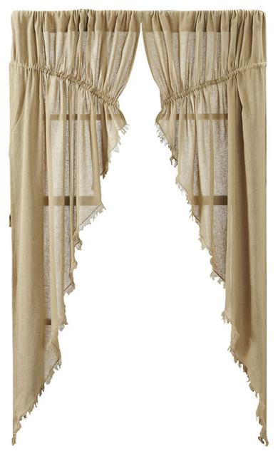 Tobacco Cloth Khaki Prairie Curtain Fringed, Set Of 2 Farmhouse Curtains