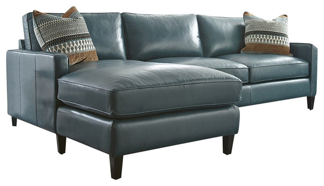 Turquoise Leather Sectional With Chaise Lounge - Transitional ...