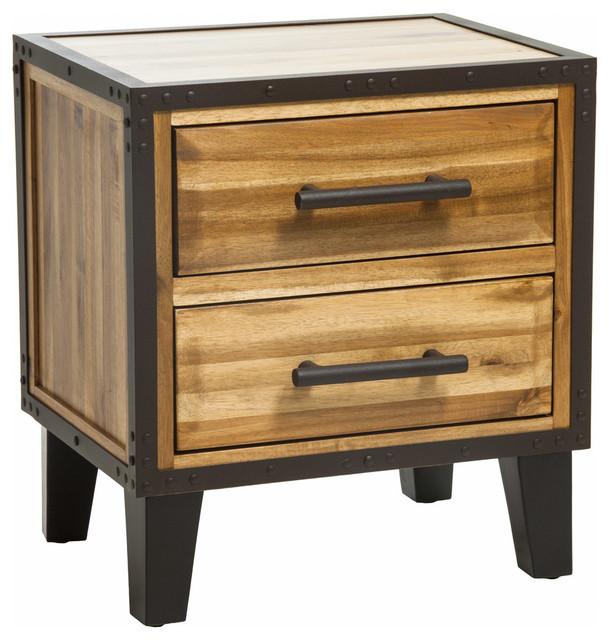 2b2ca25347 GDF Studio Glendora Natural Stain Acacia Wood 2 Drawer Nightstand ...