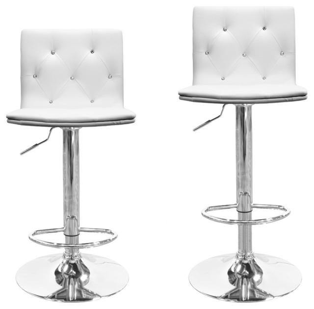 Savvay Bar Stools, Set of 2, White contemporary-bar-stools-and
