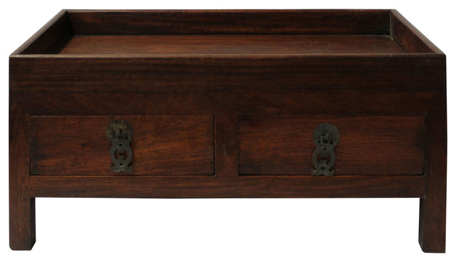 Chinese Huali Rosewood Open Top Drawers Storage Box Chest