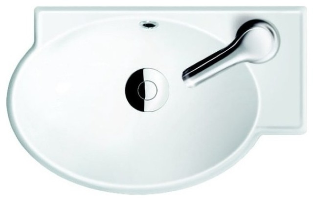 Round Ceramic Corner Sink.