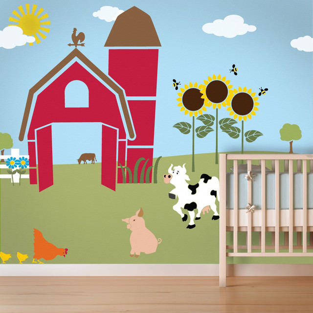 Friendly Farm Wall Mural Stencil Kit For Painting   Contemporary   Wall  Stencils   By My Wonderful Walls