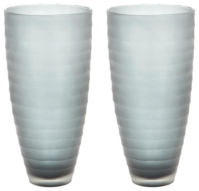 Dimond Home Smoke Matte Cut Vases, Set of 2 464083/S2