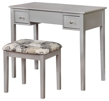 Linon Butterfly 2 Piece Bedroom Vanity Set Silver Transitional