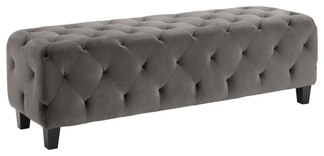 Linon Fabric Bench With Dark Brown Finish.