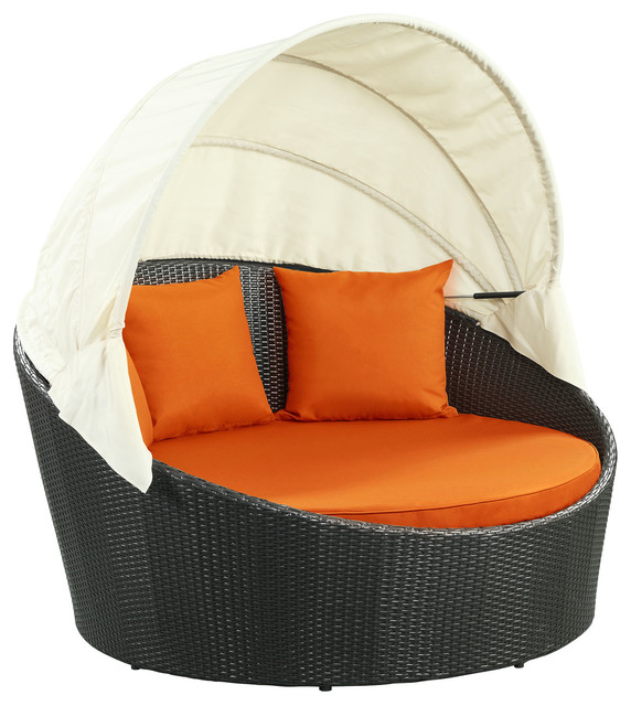 Siesta Canopy Outdoor Daybed, Espresso Orange - Siesta Canopy Outdoor Daybed - Tropical - Outdoor Chaise Lounges