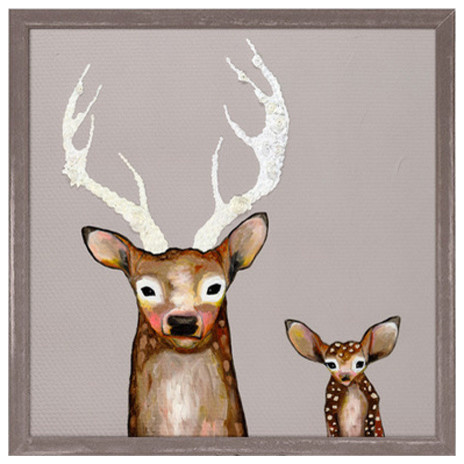 """""""Frosted Buck and Baby"""" Mini Framed Canvas by Eli Halpin"""
