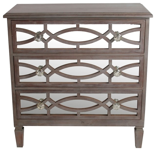 Privilege International 3 Drawer Mirrored Trellis Accent Stand  Transitional Accent Chests And