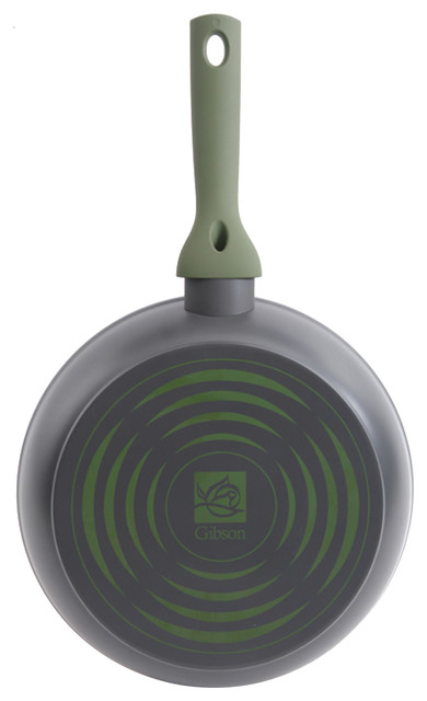 "Gibson Home Marengo 12"" Aluminum Non Stick Frying Pan, Green And Gray."
