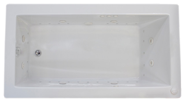"Venzi Villa 36""x60"" Rectangular Air And Whirlpool Jetted Bathtub, Left Drain."