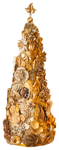 Beyond The Jewel Box Collection - An Exquisite Champagne, Ivory and Gold Decorative Table Top Christmas Tree